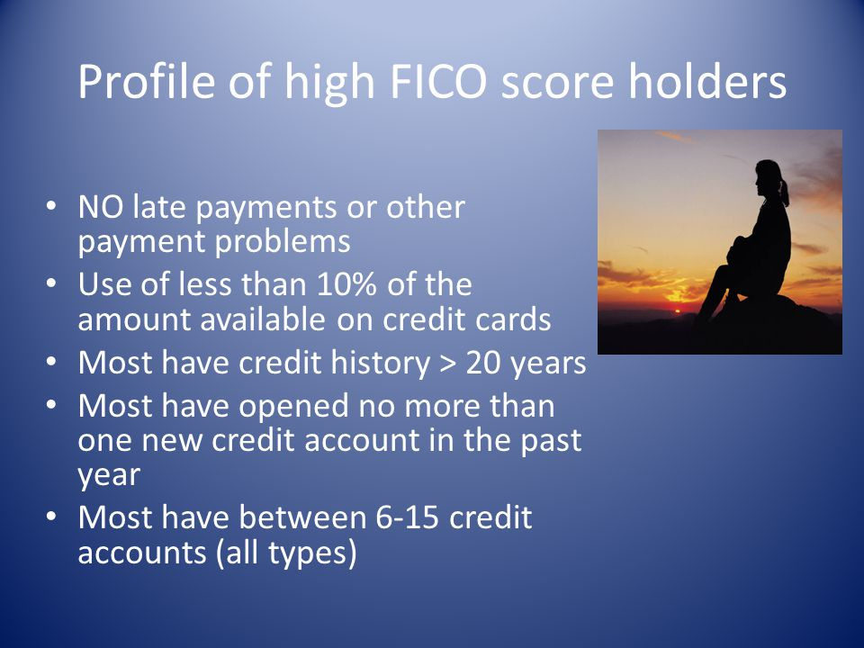 Profile of high FICO score holders NO late payments or other payment problems Use of less than 10% of the amount available on credit cards Most have c