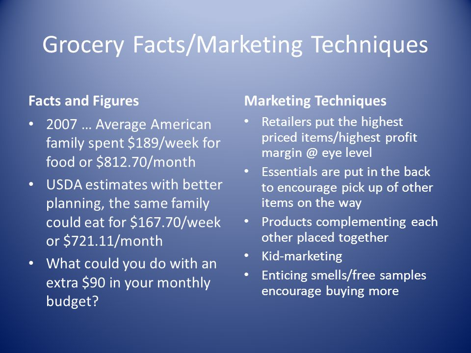 Grocery Facts/Marketing Techniques Facts and Figures 2007 … Average American family spent $189/week for food or $812.70/month USDA estimates with bett
