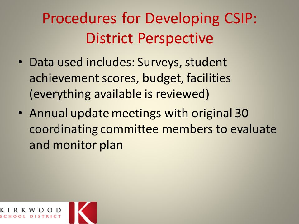 Methods of Evaluating & Monitoring: District Perspective Annual update meeting Original 30 committee members Then individual administrators from each building involved Monitored by committee updates and administrator check-ins/meetings (monthly)