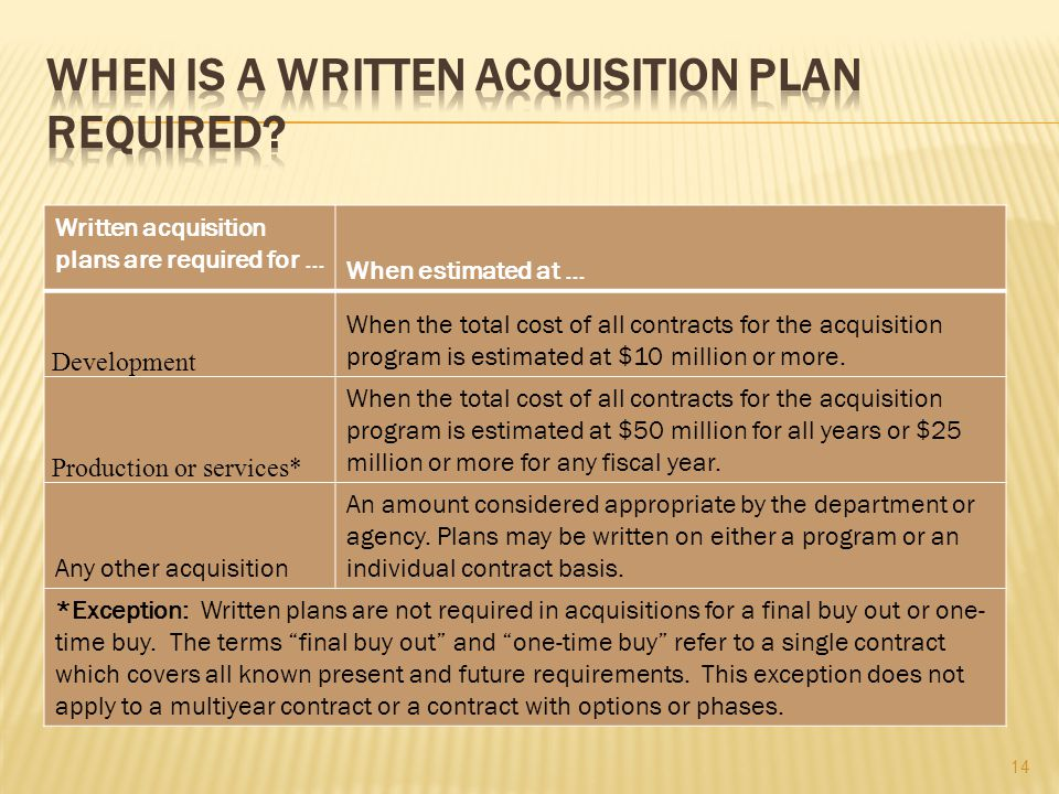 Written acquisition plans are required for … When estimated at … Development When the total cost of all contracts for the acquisition program is estim
