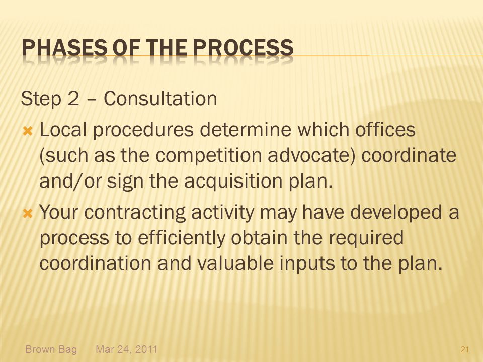 Step 2 – Consultation Local procedures determine which offices (such as the competition advocate) coordinate and/or sign the acquisition plan. Your co