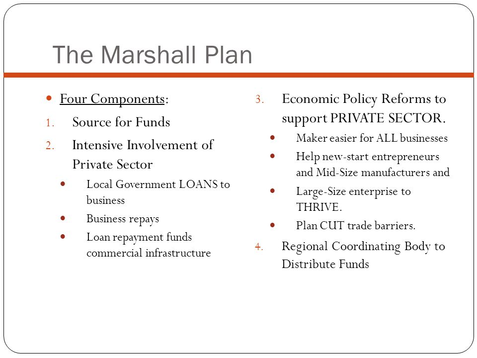 The Marshall Plan 3.Economic Policy Reforms to support PRIVATE SECTOR.