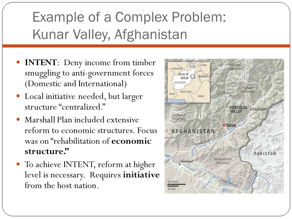 Example of a Complex Problem: Kunar Valley, Afghanistan INTENT: Deny income from timber smuggling to anti-government forces (Domestic and International) Local initiative needed, but larger structure centralized.