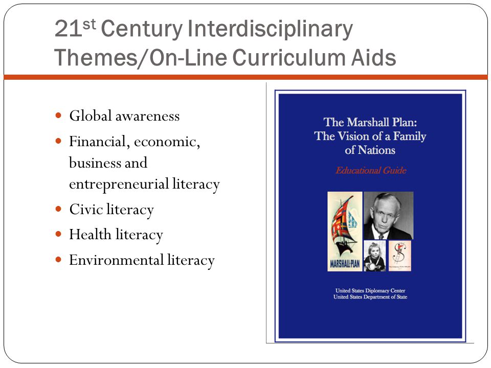 21 st Century Interdisciplinary Themes/On-Line Curriculum Aids Global awareness Financial, economic, business and entrepreneurial literacy Civic literacy Health literacy Environmental literacy