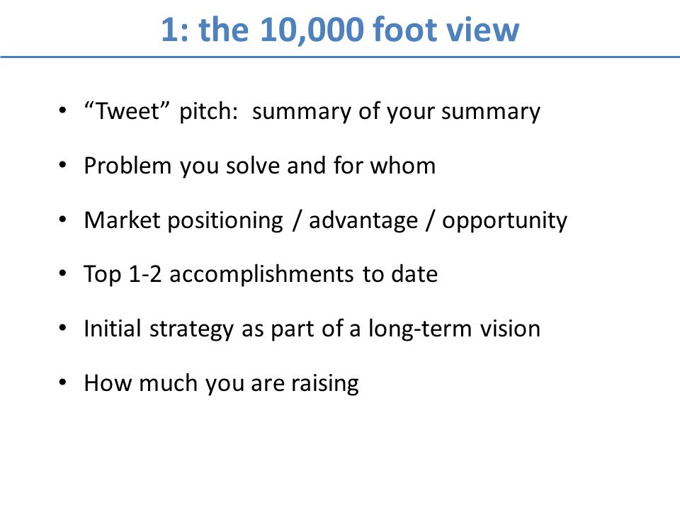 1: the 10,000 foot view Tweet pitch: summary of your summary Problem you solve and for whom Market positioning / advantage / opportunity Top 1-2 accom