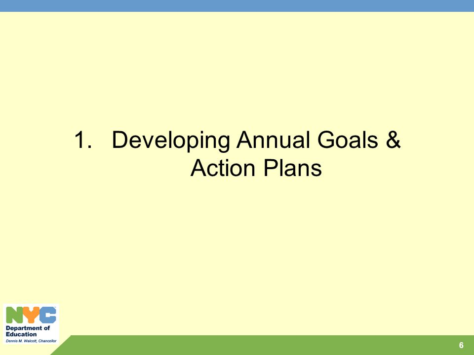 1.Developing Annual Goals & Action Plans 6