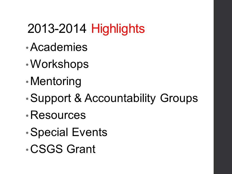 2013-2014 Highlights Academies Workshops Mentoring Support & Accountability Groups Resources Special Events CSGS Grant