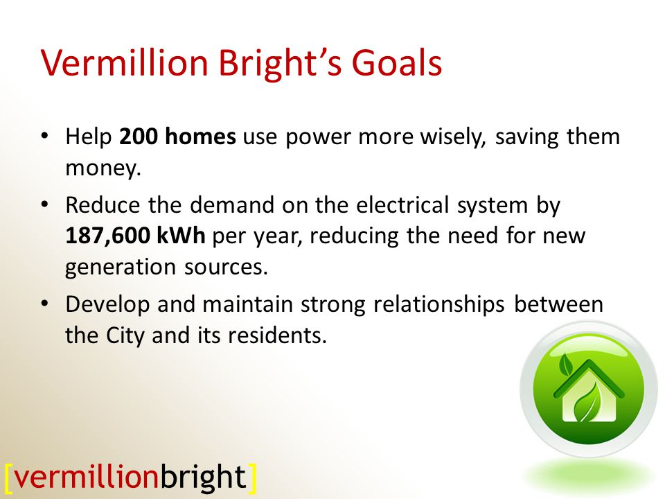Vermillion Brights Goals Help 200 homes use power more wisely, saving them money.