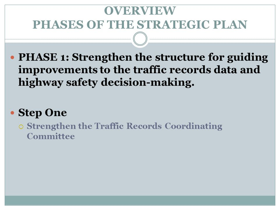 OVERVIEW PHASES OF THE STRATEGIC PLAN PHASE 1: Strengthen the structure for guiding improvements to the traffic records data and highway safety decision-making.