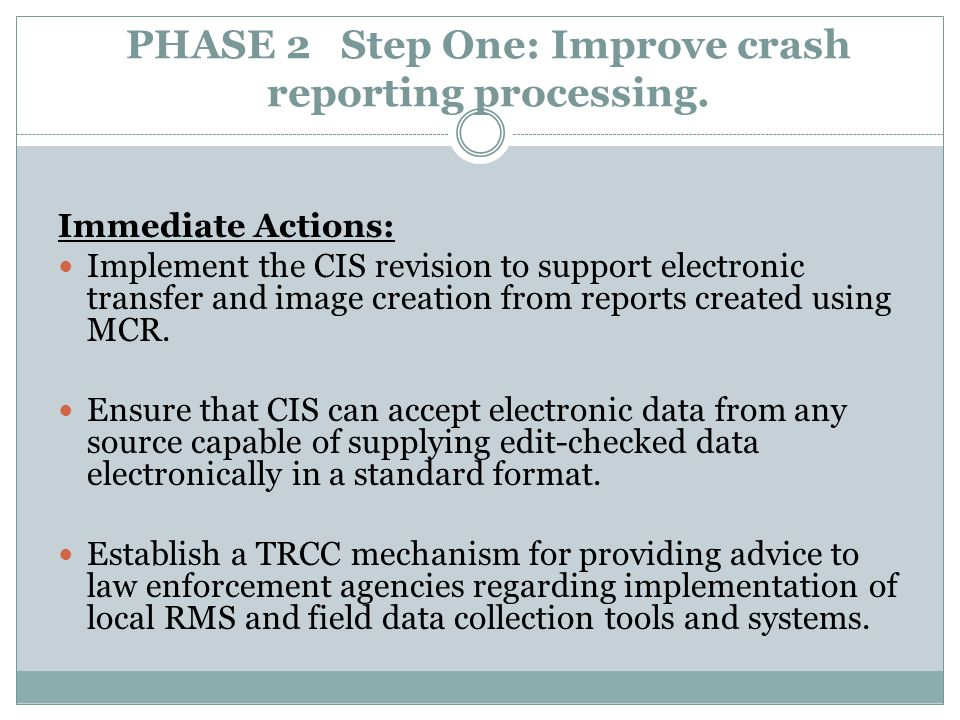 PHASE 2 Step One: Improve crash reporting processing.
