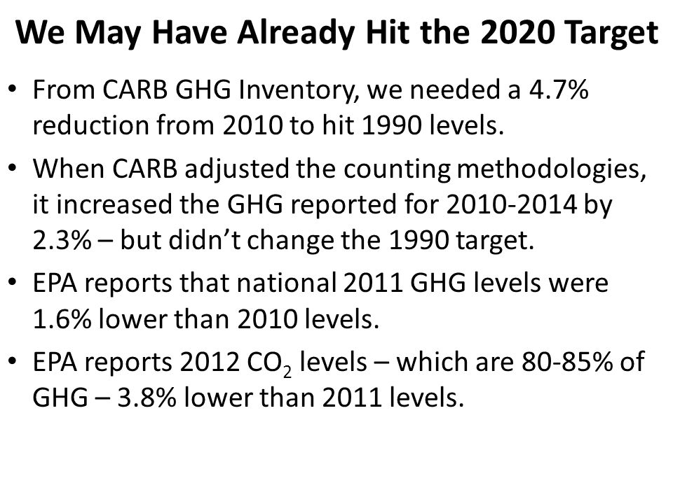We May Have Already Hit the 2020 Target From CARB GHG Inventory, we needed a 4.7% reduction from 2010 to hit 1990 levels. When CARB adjusted the count