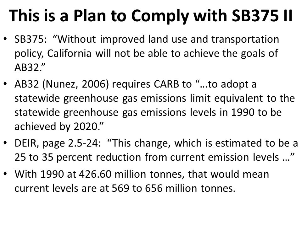 This is a Plan to Comply with SB375 II SB375: Without improved land use and transportation policy, California will not be able to achieve the goals of