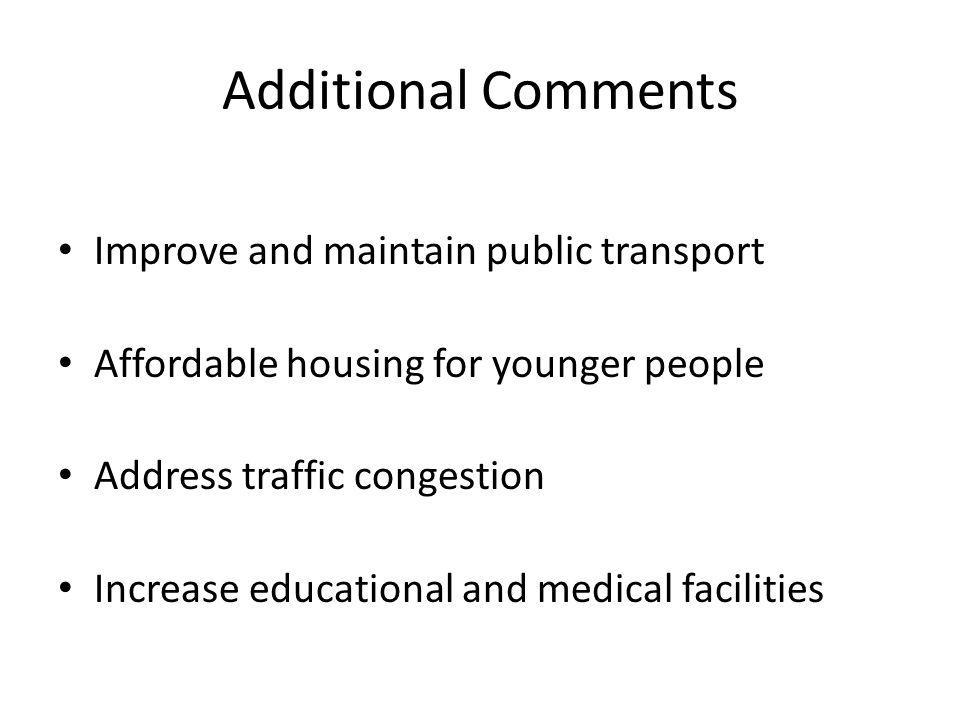 Additional Comments Improve and maintain public transport Affordable housing for younger people Address traffic congestion Increase educational and medical facilities