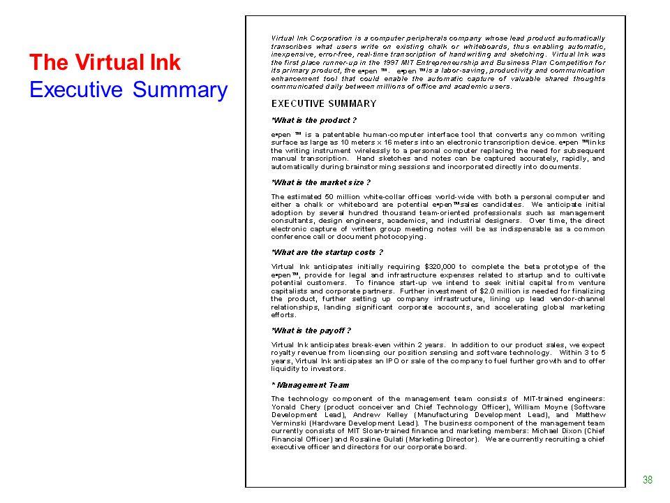 The Virtual Ink Executive Summary 38