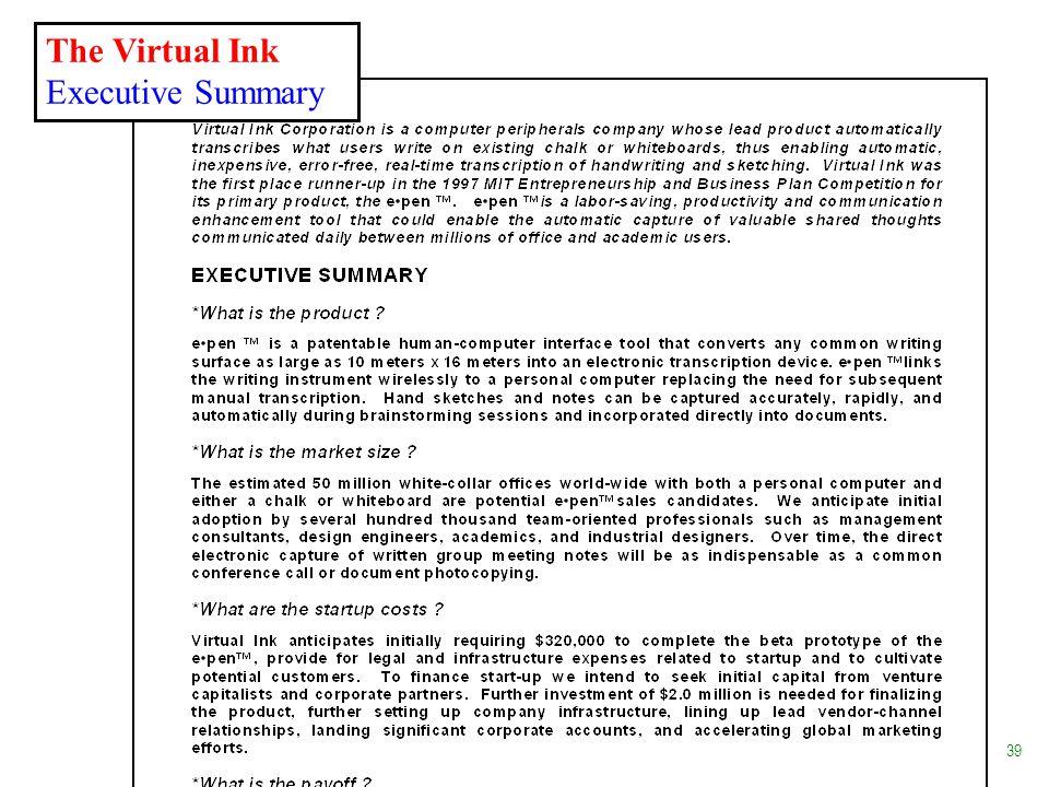 The Virtual Ink Executive Summary 39