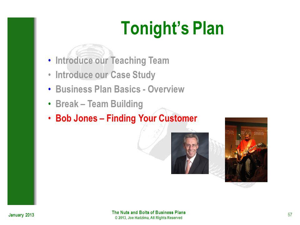 January 2013 57 Tonights Plan Introduce our Teaching Team Introduce our Case Study Business Plan Basics - Overview Break – Team Building Bob Jones – F
