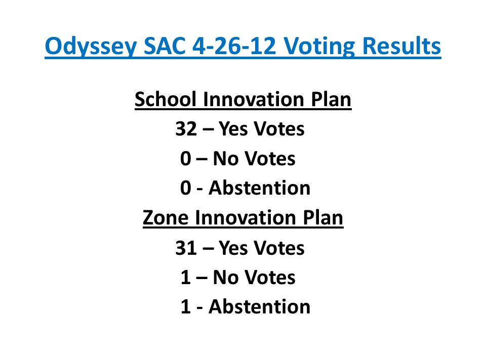 Odyssey SAC 4-26-12 Voting Results School Innovation Plan 32 – Yes Votes 0 – No Votes 0 - Abstention Zone Innovation Plan 31 – Yes Votes 1 – No Votes 1 - Abstention