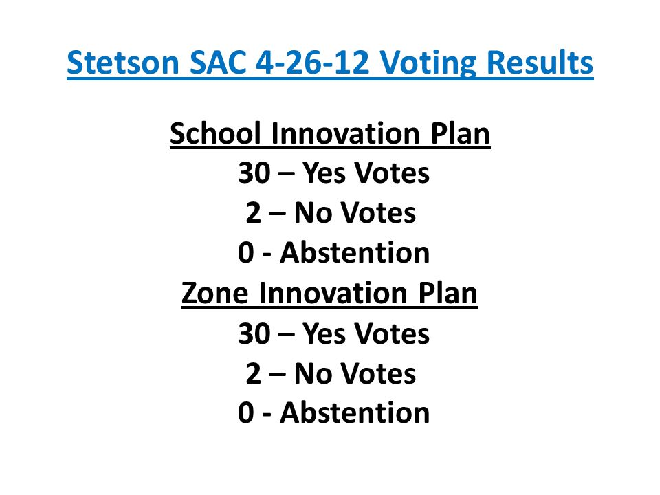 Stetson SAC 4-26-12 Voting Results School Innovation Plan 30 – Yes Votes 2 – No Votes 0 - Abstention Zone Innovation Plan 30 – Yes Votes 2 – No Votes 0 - Abstention