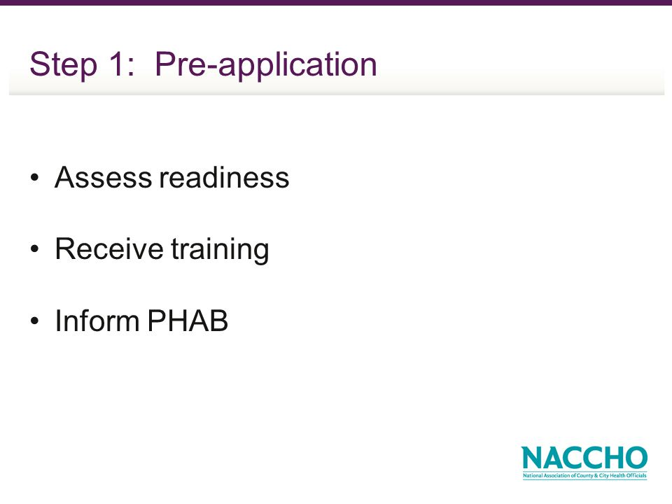 Step 1: Pre-application Assess readiness Receive training Inform PHAB