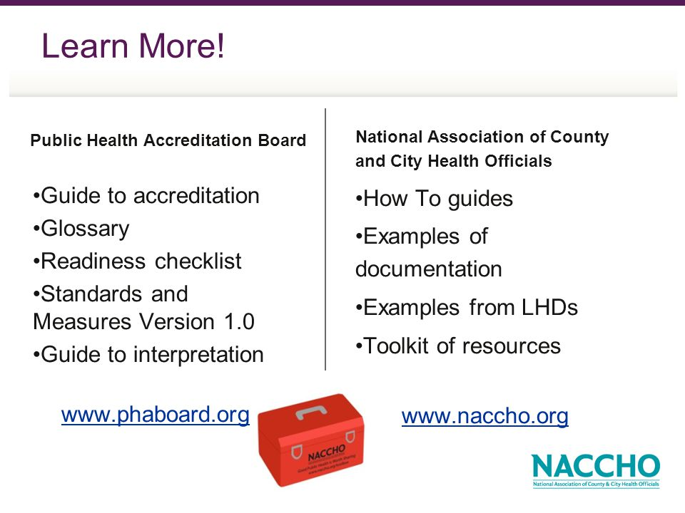 Learn More! Public Health Accreditation Board Guide to accreditation Glossary Readiness checklist Standards and Measures Version 1.0 Guide to interpre