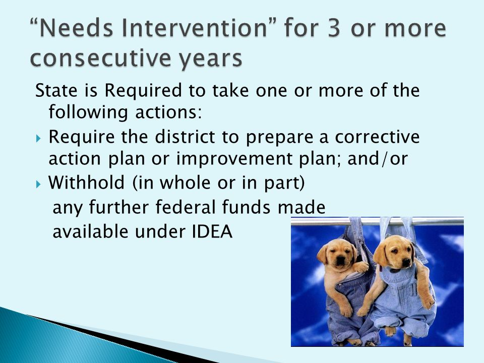 State is Required to take one or more of the following actions: Require the district to prepare a corrective action plan or improvement plan; and/or Withhold (in whole or in part) any further federal funds made available under IDEA