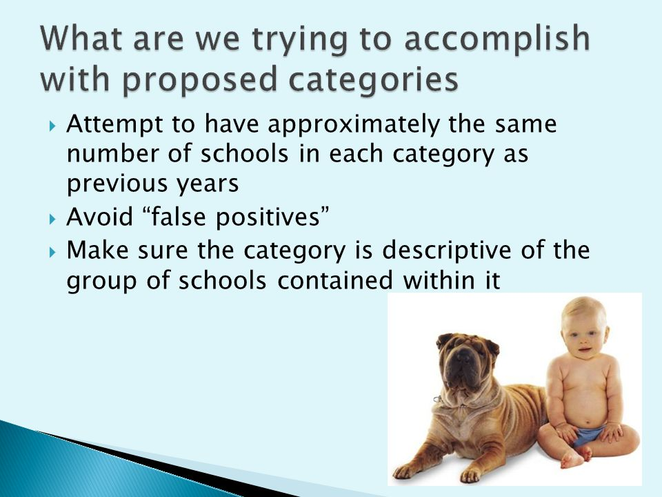 Attempt to have approximately the same number of schools in each category as previous years Avoid false positives Make sure the category is descriptive of the group of schools contained within it