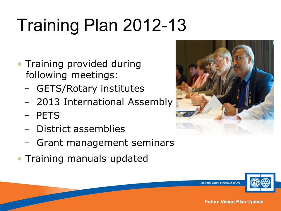 Future Vision Plan Update Training Plan 2012-13 Training provided during following meetings: – GETS/Rotary institutes – 2013 International Assembly –PETS – District assemblies – Grant management seminars Training manuals updated