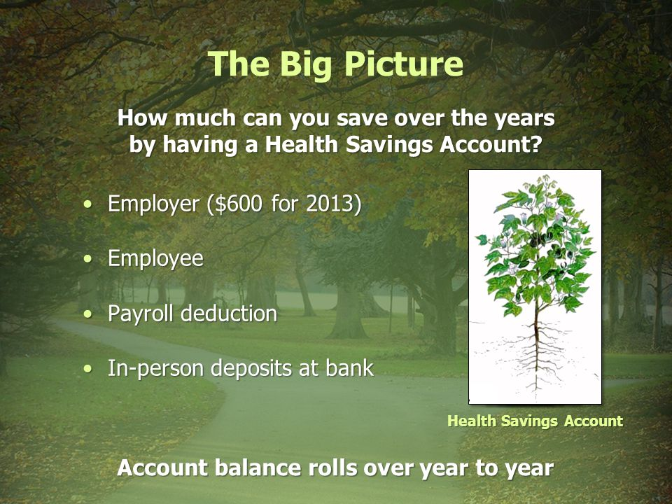 The Big Picture How much can you save over the years by having a Health Savings Account.