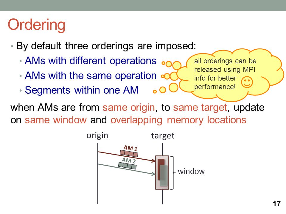 By default three orderings are imposed: AMs with different operations AMs with the same operation Segments within one AM when AMs are from same origin, to same target, update on same window and overlapping memory locations Ordering 17 origin target AM 1 AM 2 window all orderings can be released using MPI info for better performance!