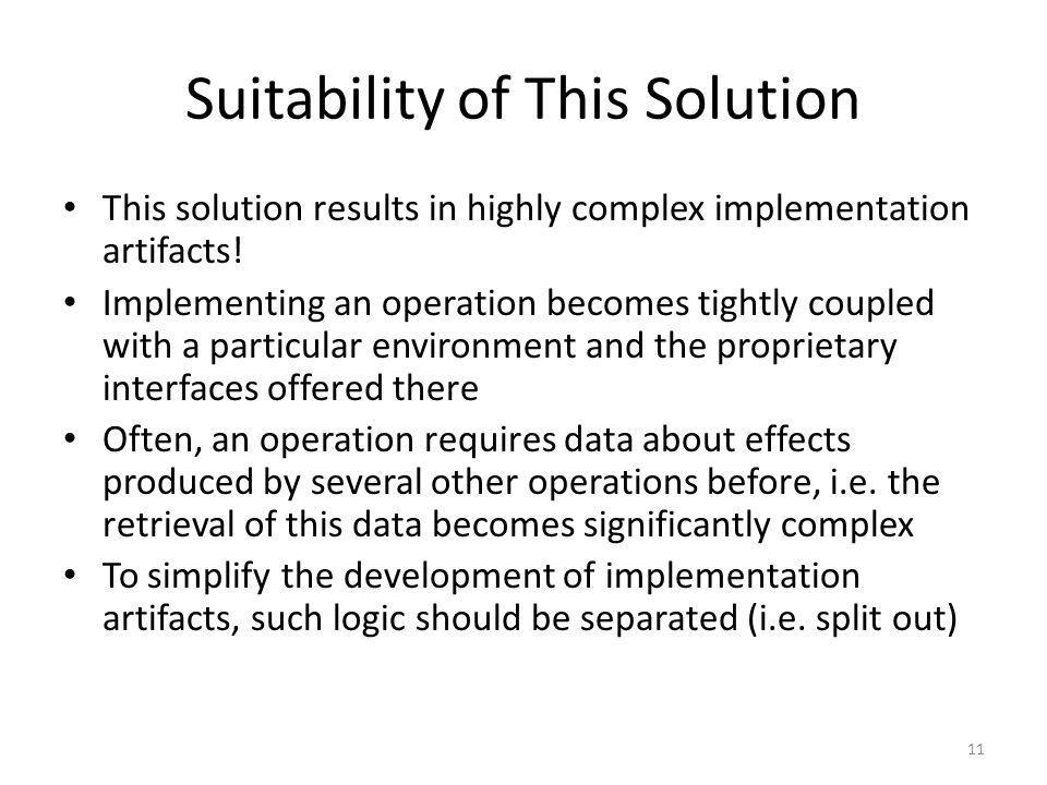 Suitability of This Solution This solution results in highly complex implementation artifacts! Implementing an operation becomes tightly coupled with