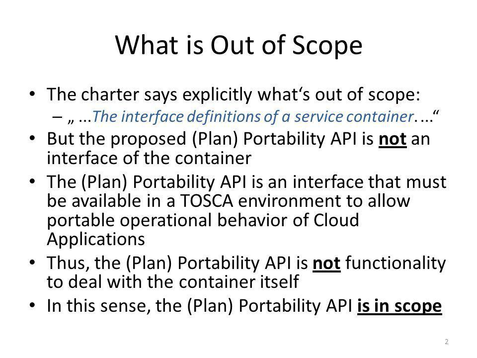 What is Out of Scope The charter says explicitly whats out of scope: –...The interface definitions of a service container.... But the proposed (Plan)