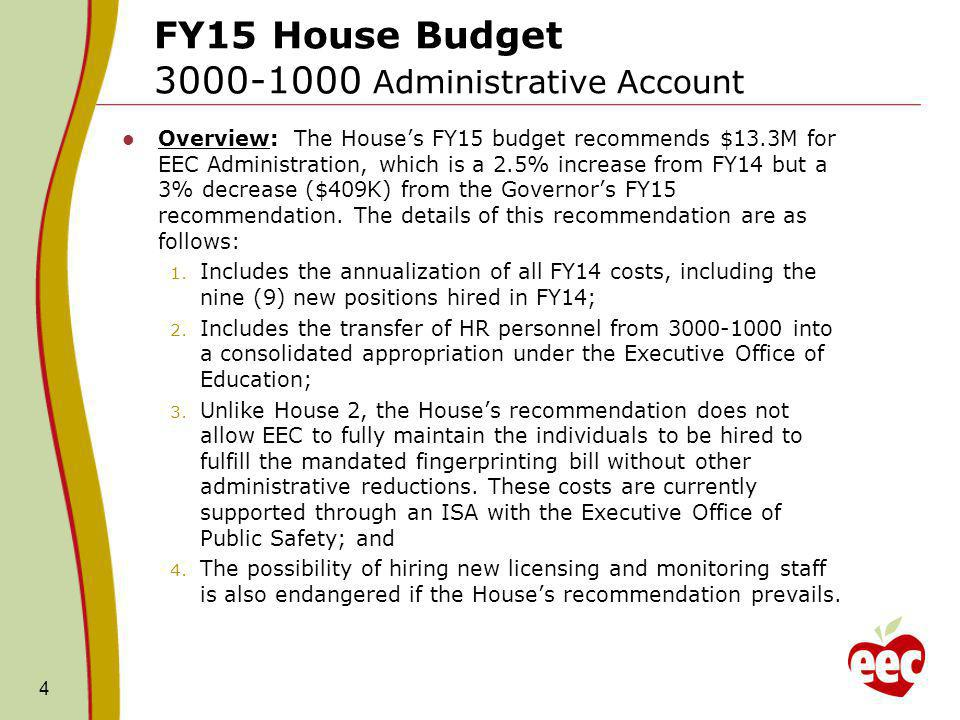 FY15 House Budget One-time Funding Eliminated The Houses FY15 budget recommendation eliminated funding for several FY14 one-time initiatives.