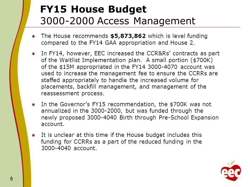 FY15 House Budget Caseload Accounts 7 The House included language that allows for transferability between 3000-4050 (DTA) and 3000-4060 (Income Eligible) and from those accounts to 3000-3050 (Supportive).