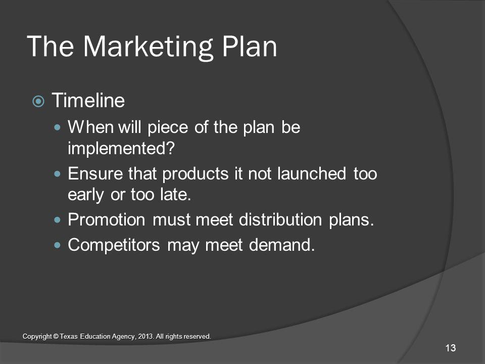 The Marketing Plan Timeline When will piece of the plan be implemented.