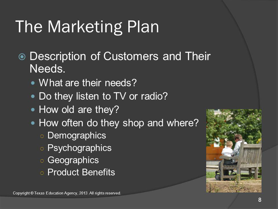 The Marketing Plan Description of Customers and Their Needs.
