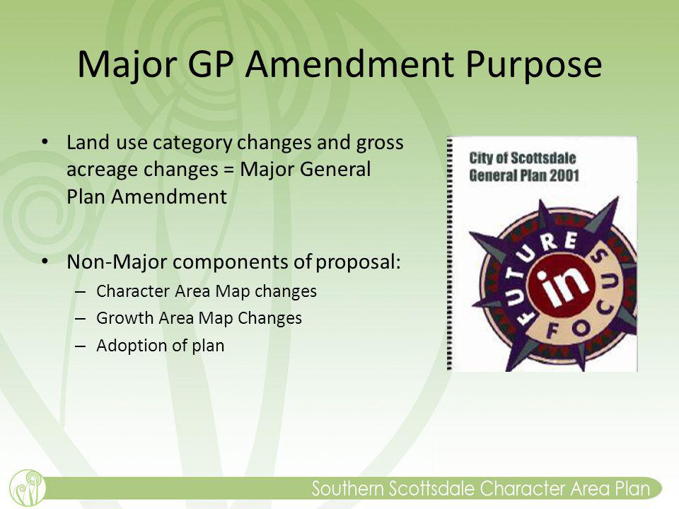 Major GP Amendment Purpose Land use category changes and gross acreage changes = Major General Plan Amendment Non-Major components of proposal: – Character Area Map changes – Growth Area Map Changes – Adoption of plan