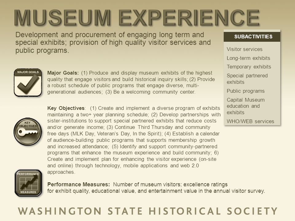 Development and procurement of engaging long term and special exhibits; provision of high quality visitor services and public programs.