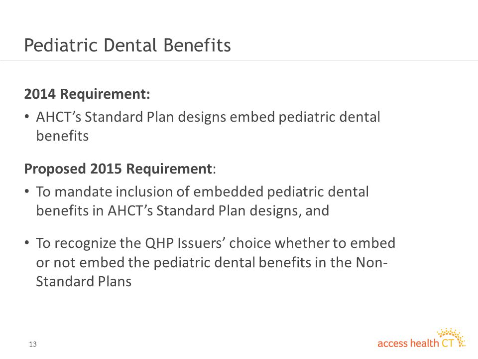 13 Pediatric Dental Benefits 2014 Requirement: AHCTs Standard Plan designs embed pediatric dental benefits Proposed 2015 Requirement: To mandate inclusion of embedded pediatric dental benefits in AHCTs Standard Plan designs, and To recognize the QHP Issuers choice whether to embed or not embed the pediatric dental benefits in the Non- Standard Plans