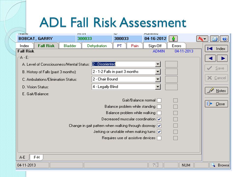 ADL Fall Risk Assessment