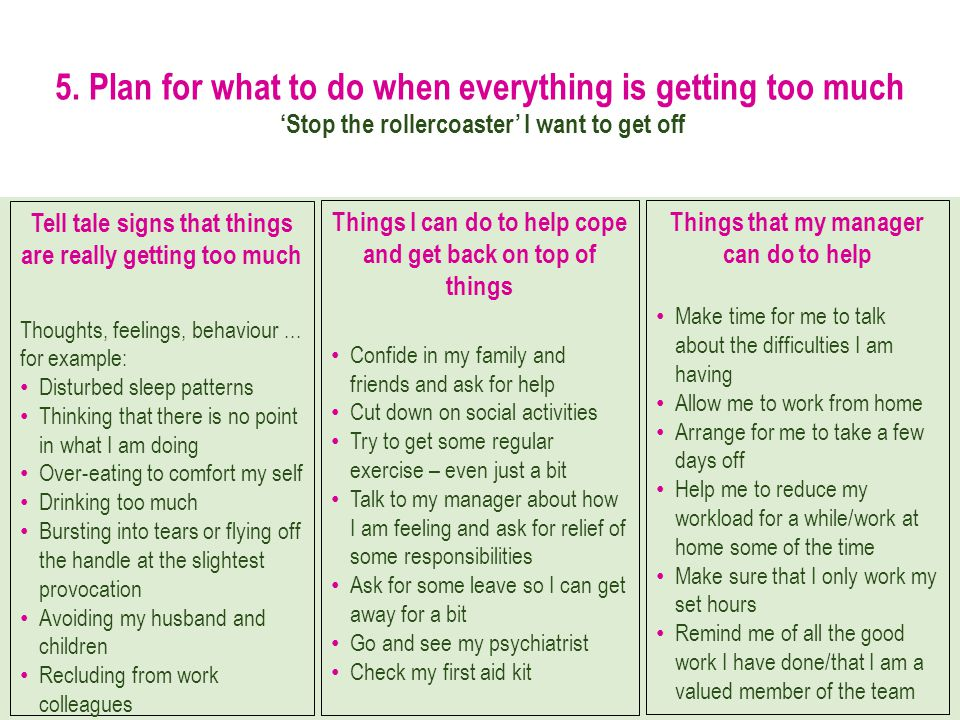 5. Plan for what to do when everything is getting too much Stop the rollercoaster I want to get off Tell tale signs that things are really getting too