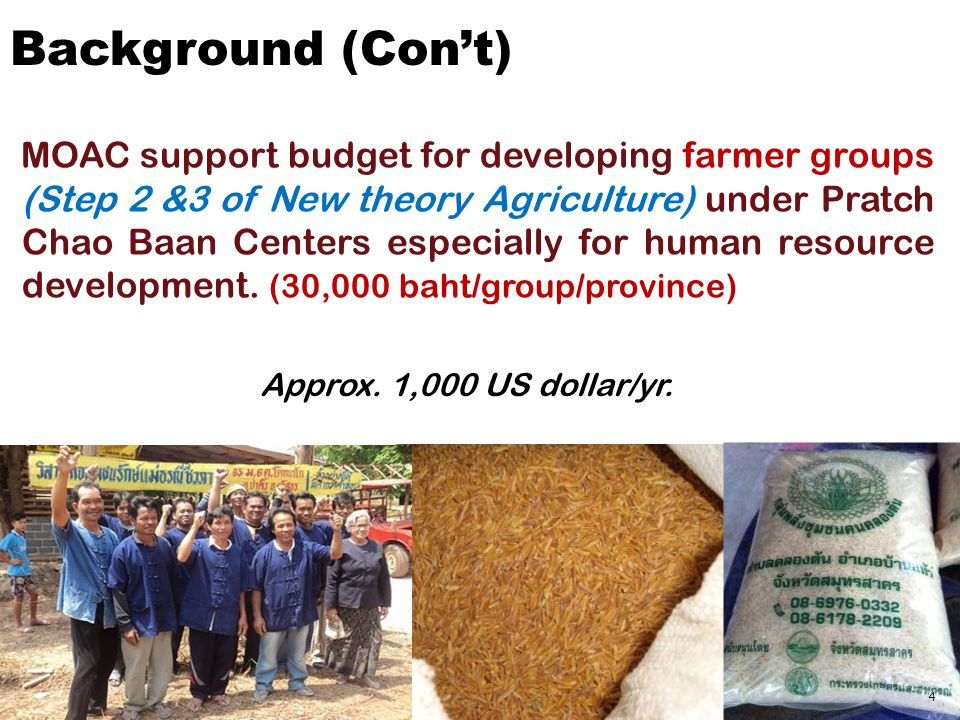 MOAC support budget for developing farmer groups (Step 2 &3 of New theory Agriculture) under Pratch Chao Baan Centers especially for human resource development.