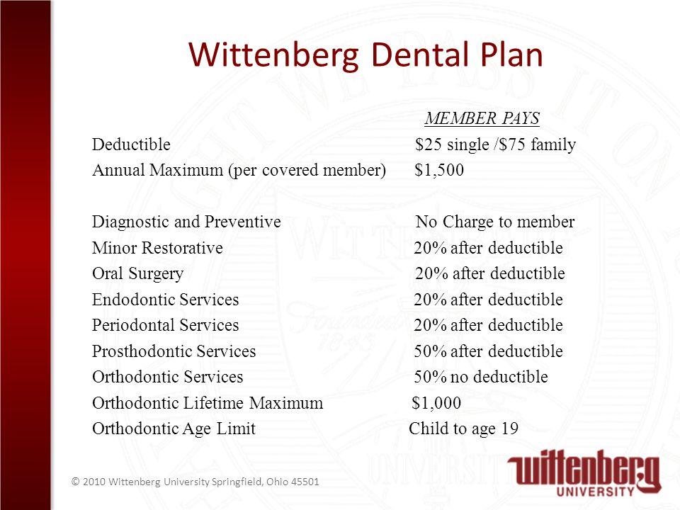 © 2010 Wittenberg University Springfield, Ohio 45501 Wittenberg Dental Plan MEMBER PAYS Deductible $25 single /$75 family Annual Maximum (per covered