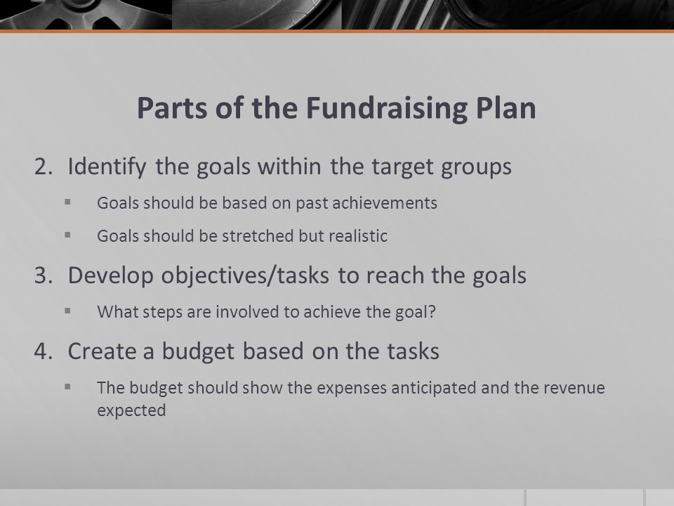 Parts of the Fundraising Plan 2.Identify the goals within the target groups Goals should be based on past achievements Goals should be stretched but realistic 3.Develop objectives/tasks to reach the goals What steps are involved to achieve the goal.
