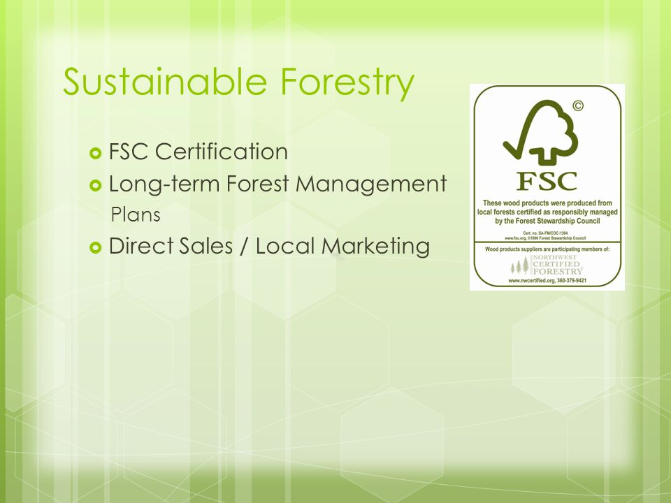 Sustainable Forestry FSC Certification Long-term Forest Management Plans Direct Sales / Local Marketing
