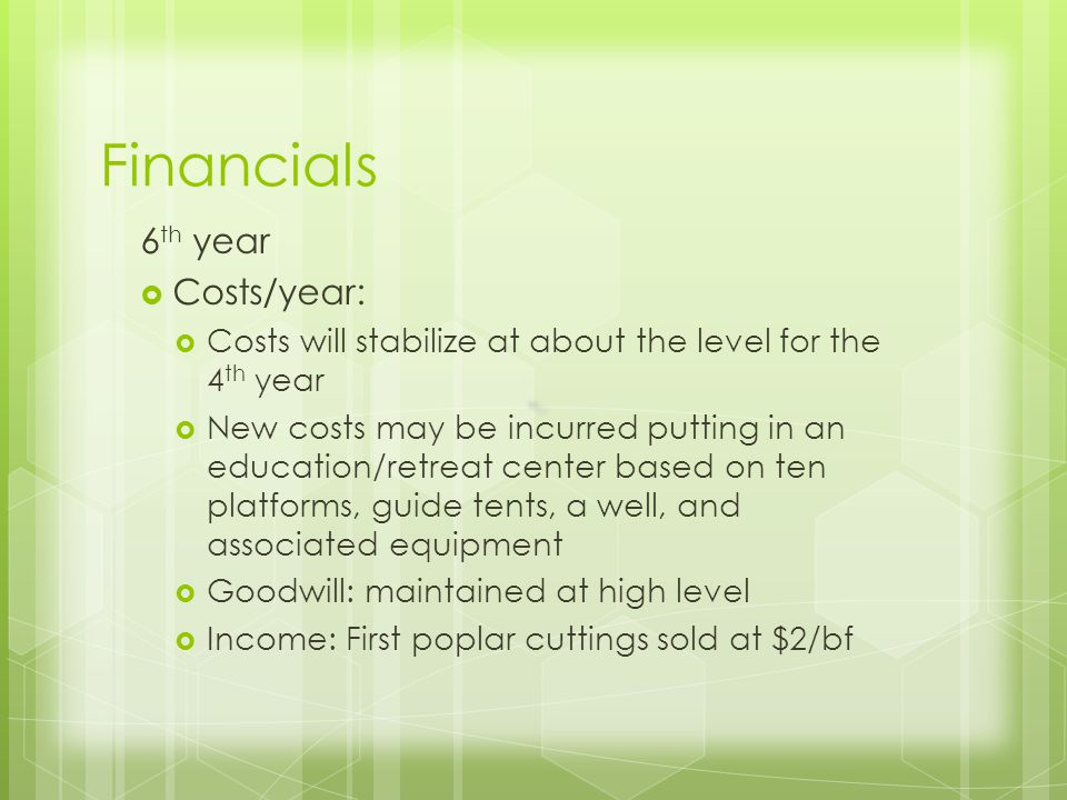 Financials 6 th year Costs/year: Costs will stabilize at about the level for the 4 th year New costs may be incurred putting in an education/retreat center based on ten platforms, guide tents, a well, and associated equipment Goodwill: maintained at high level Income: First poplar cuttings sold at $2/bf