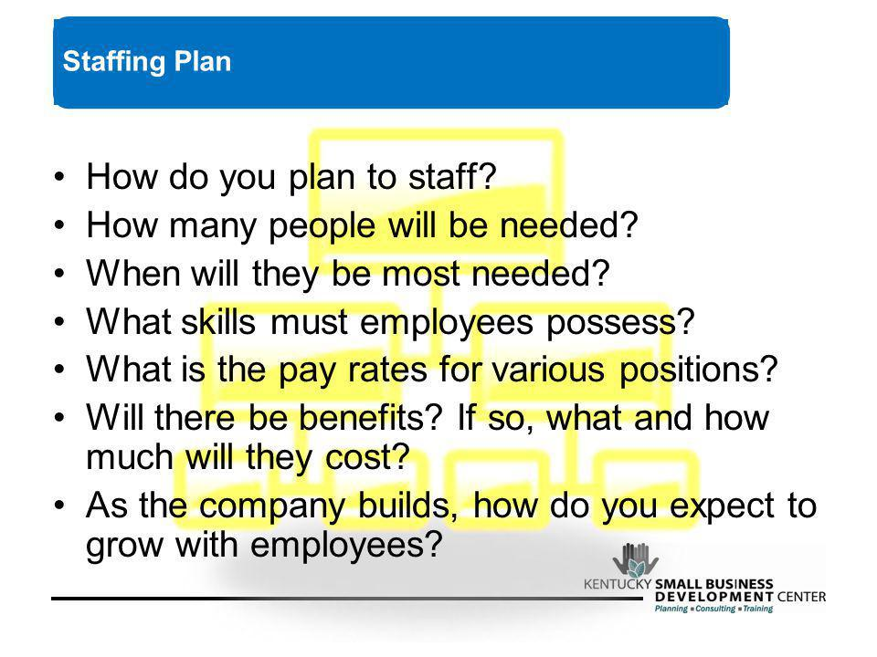 How do you plan to staff.How many people will be needed.