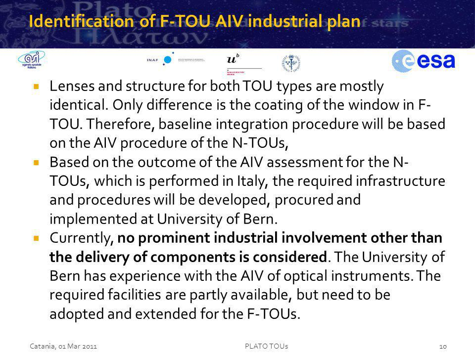 Identification of F-TOU AIV industrial plan Lenses and structure for both TOU types are mostly identical. Only difference is the coating of the window