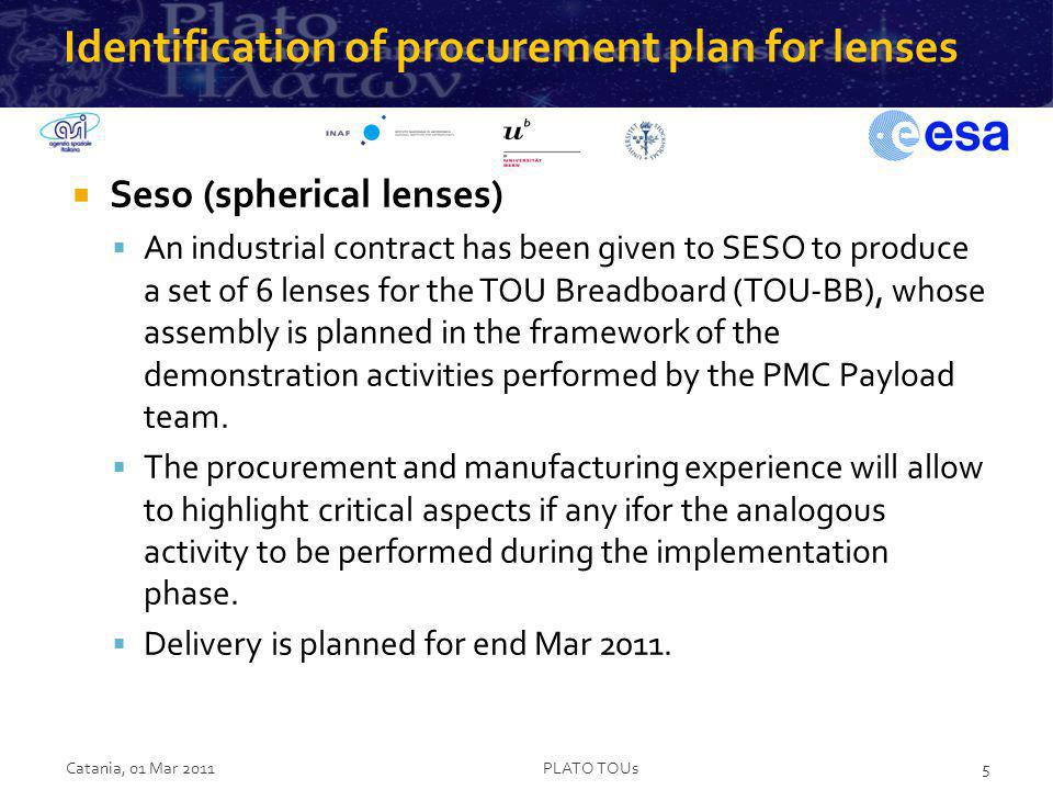 Identification of procurement plan for lenses Seso (spherical lenses) An industrial contract has been given to SESO to produce a set of 6 lenses for t