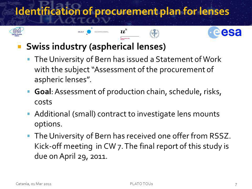 Identification of procurement plan for the mechanical structure Swiss industry The University of Bern has issued a Statement of Work with the subject Assessment of the procurement of AlBeMet structures.