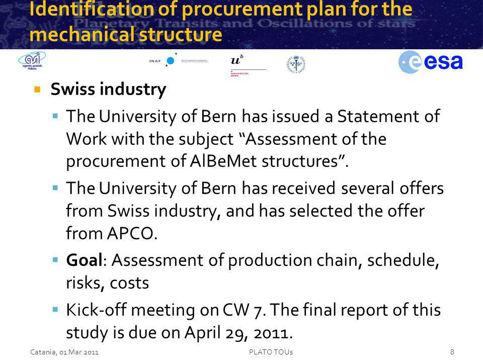 Identification of procurement plan for the mechanical structure Swiss industry The University of Bern has issued a Statement of Work with the subject